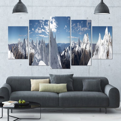 Designart Beautiful Summit Panorama Landscape Large Canvas Art Print - 5 Panels