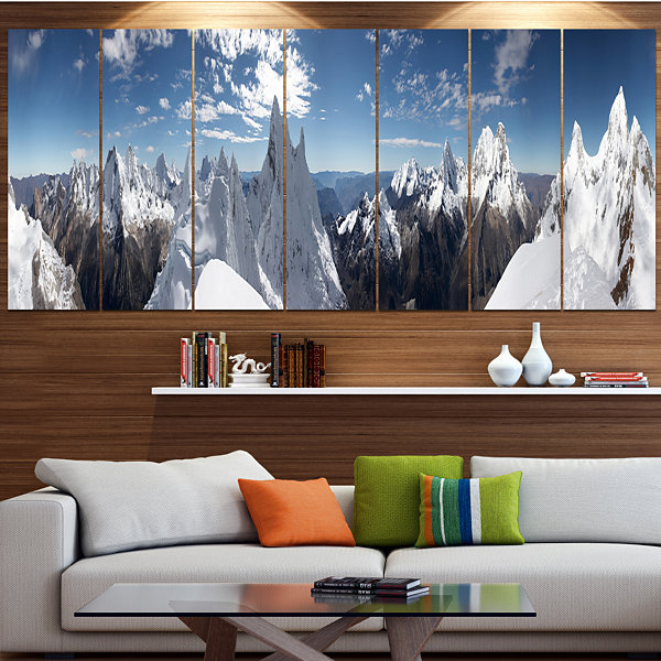 Design Art Beautiful Summit Panorama Landscape Canvas Art Print - 6 Panels