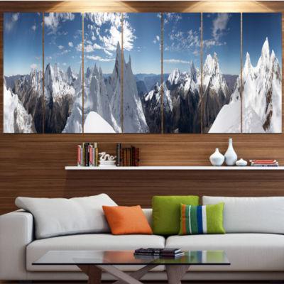 Design Art Beautiful Summit Panorama Landscape Canvas Art Print - 7 Panels