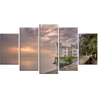 Designart Miramare Castle At Sunset Landscape Large Canvas Art Print - 5 Panels