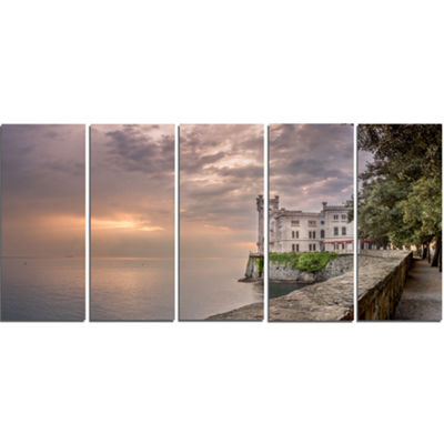 Designart Miramare Castle At Sunset Landscape Canvas Art Print - 5 Panels