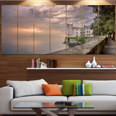 Miramare Castle At Sunset Landscape Canvas Art Print - 6 Panels