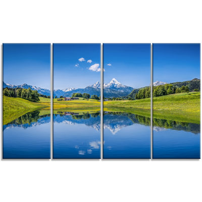 Designart Summer With Clear Mountain Lake Landscape Canvas Art Print - 4 Panels