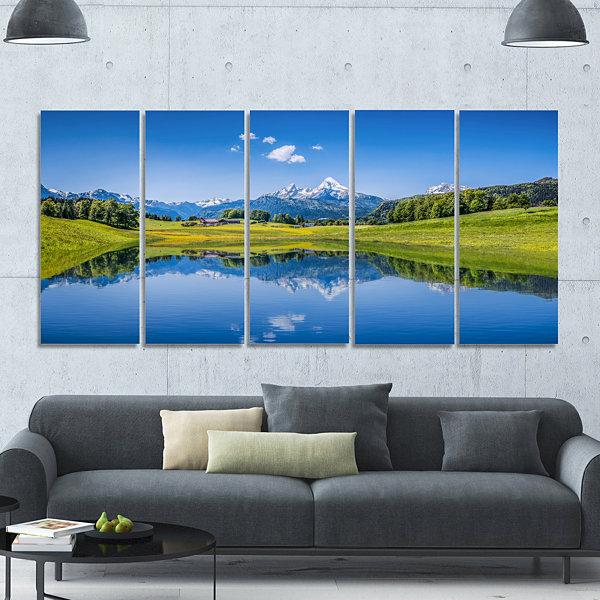 Design Art Summer With Clear Mountain Lake Landscape Canvas Art Print - 5 Panels