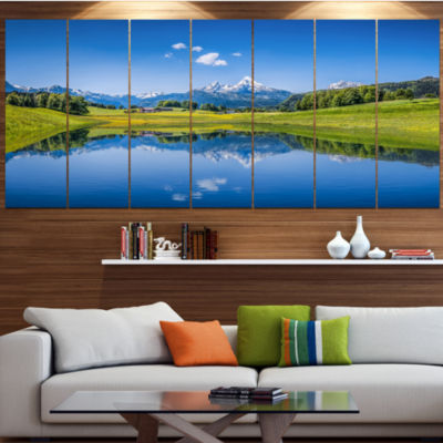 Summer With Clear Mountain Lake Landscape Canvas Art Print - 7 Panels