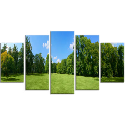 Green City Park Panorama Landscape Large Canvas Art Print - 5 Panels