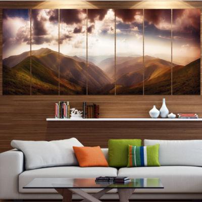 Design Art Polonina Borzava Panorama Landscape Large Canvas Art Print - 5 Panels