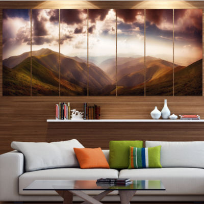 Designart Polonina Borzava Panorama Landscape Canvas Art Print - 7 Panels