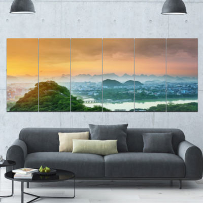 Li River And Karst Mountains Landscape Canvas ArtPrint - 6 Panels