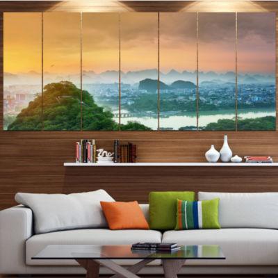 Designart Li River And Karst Mountains LandscapeCanvas Art Print - 7 Panels