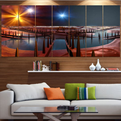 Designart Planet Of Souls Alien Land Landscape Canvas Art Print - 5 Panels