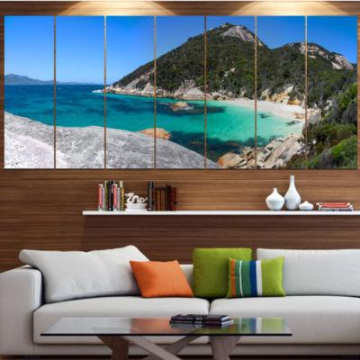 Designart Small Hidden Bay Panorama Landscape Large Canvas Art Print - 5 Panels