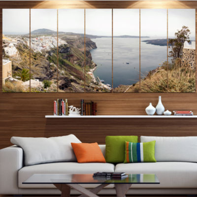Beautiful View Of Santorini Island Landscape LargeCanvas Art Print - 5 Panels
