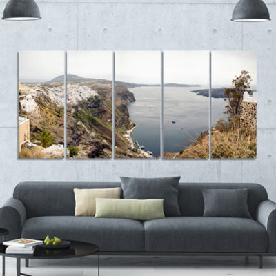 Designart Beautiful View Of Santorini Island Landscape Canvas Art Print - 5 Panels