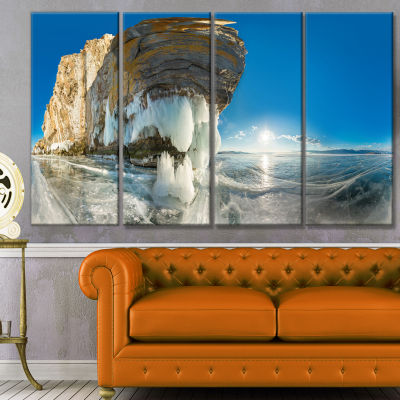 Rock On Olkhon Island In Baikal Lake Landscape Canvas Art Print - 4 Panels
