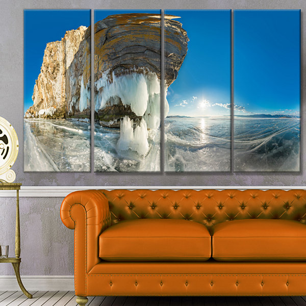 Design Art Rock On Olkhon Island In Baikal Lake Landscape Canvas Art Print - 4 Panels