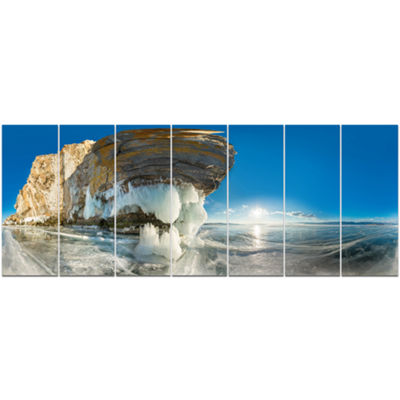 Designart Rock On Olkhon Island In Baikal Lake Landscape Canvas Art Print - 7 Panels
