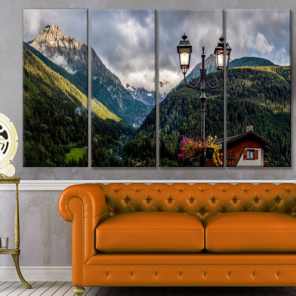 Designart Lamp Posts In Mountain Panorama Landscape Canvas Art Print - 4 Panels