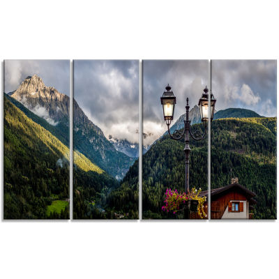 Lamp Posts In Mountain Panorama Landscape Canvas Art Print - 4 Panels