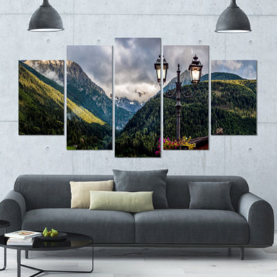 Designart Lamp Posts In Mountain Panorama Landscape Large Canvas Art Print - 5 Panels