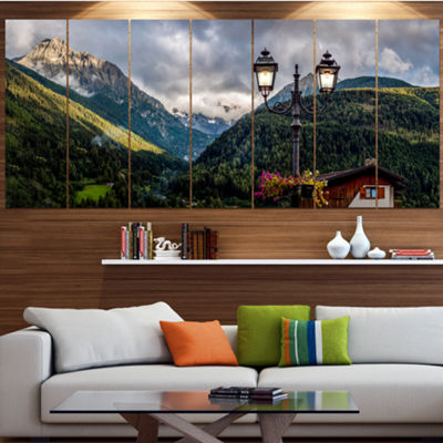 Designart Lamp Posts In Mountain Panorama Landscape Canvas Art Print - 5 Panels