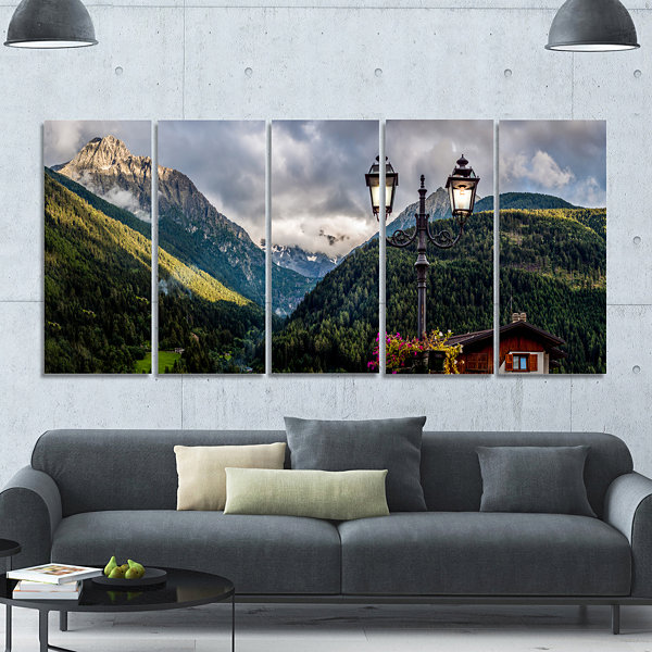 Design Art Lamp Posts In Mountain Panorama Landscape Canvas Art Print - 5 Panels