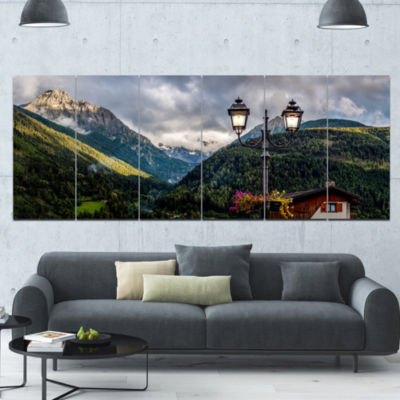 Lamp Posts In Mountain Panorama Landscape Canvas Art Print - 6 Panels