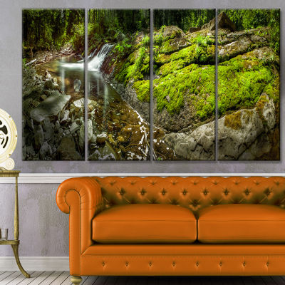 Creek Moss And Rocks Panorama Landscape Canvas ArtPrint - 4 Panels