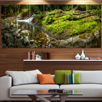Designart Creek Moss And Rocks Panorama LandscapeLarge Canvas Art Print - 5 Panels