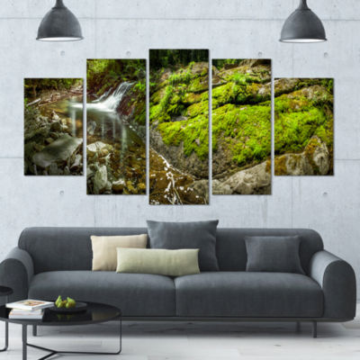 Creek Moss And Rocks Panorama Landscape Large Canvas Art Print - 5 Panels