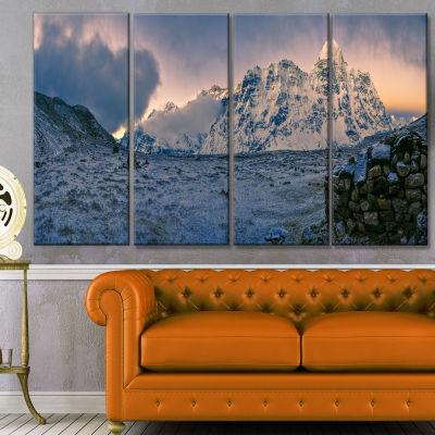 Designart Kangchenjunga Panorama Landscape CanvasArt Print- 4 Panels
