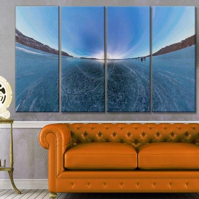 Designart Ice On Lake Baikal Ice At Sunset Landscape Canvas Art Print - 4 Panels
