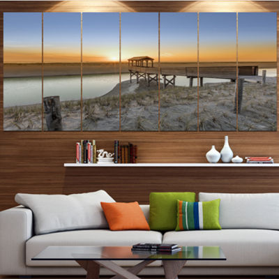 Designart Watchtower At North Sea Dunes LandscapeCanvas Art Print - 4 Panels