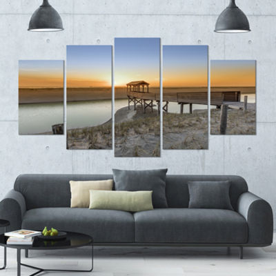 Designart Watchtower At North Sea Dunes LandscapeLarge Canvas Art Print - 5 Panels