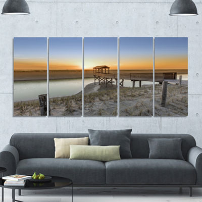Designart Watchtower At North Sea Dunes LandscapeCanvas Art Print - 5 Panels