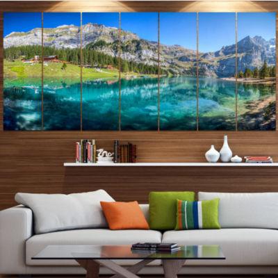 Designart Lake Oeschinen Switzerland Landscape Canvas Art Print - 4 Panels