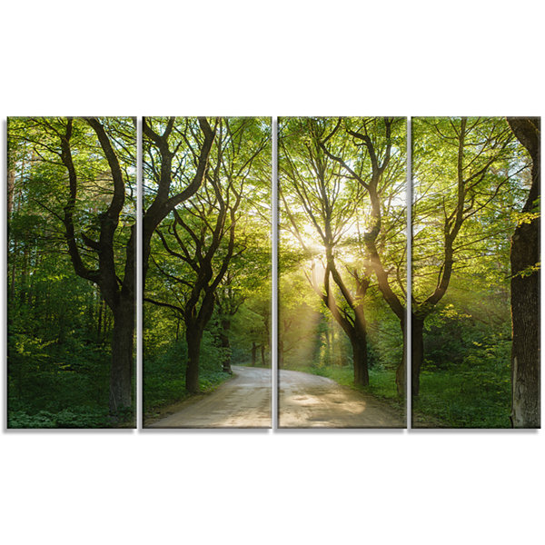 Designart Evening In Green Forest Landscape CanvasArt Print- 4 Panels