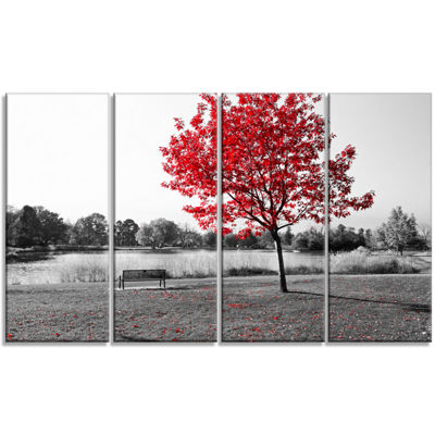 Designart Red Tree Over Park Bench Landscape Canvas Art Print - 4 Panels