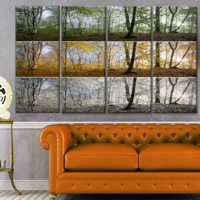 Three Seasons Forest Panorama Landscape Canvas ArtPrint - 4 Panels