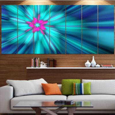 Designart Rotating Blue Fireworks Floral Canvas Art Print -7 Panels