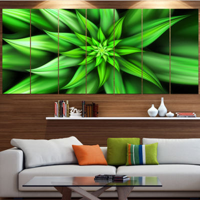 Designart Exotic Green Flower Petals Floral CanvasArt Print- 4 Panels