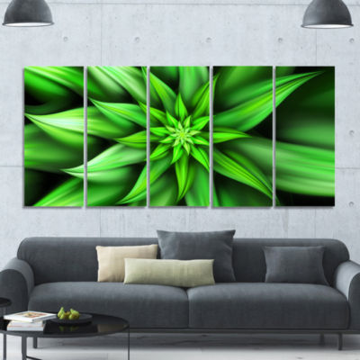 Exotic Green Flower Petals Floral Canvas Art Print- 5 Panels