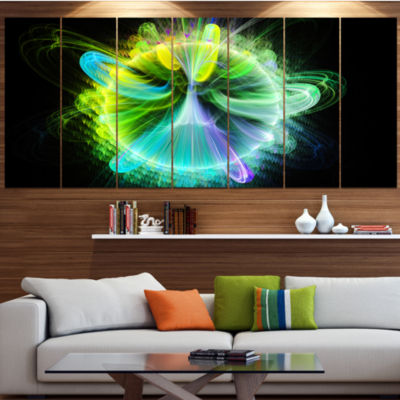 Designart Green Fractal Vortices Of Energy FloralCanvas Art Print - 4 Panels