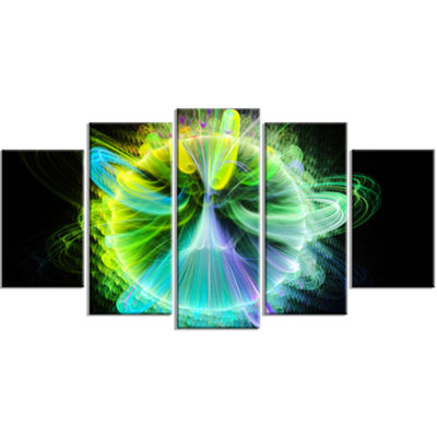 Designart Green Fractal Vortices Of Energy LargeFloral Canvas Art Print - 5 Panels