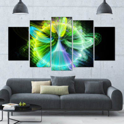 Green Fractal Vortices Of Energy Large Floral Canvas Art Print - 5 Panels