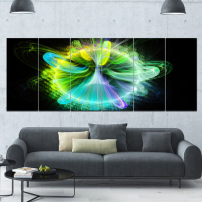Green Fractal Vortices Of Energy Floral Canvas ArtPrint - 6 Panels