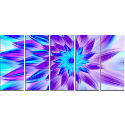 Exotic Blue Flower Petals Floral Canvas Art Print- 5 Panels
