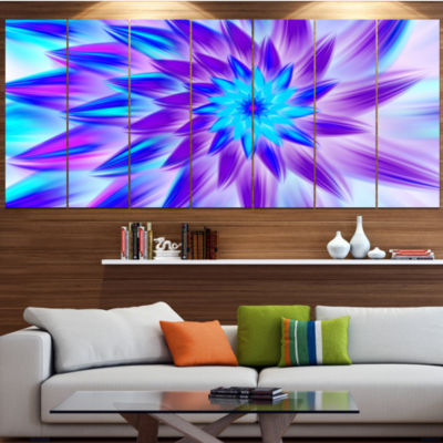 Designart Exotic Blue Flower Petals Floral CanvasArt Print- 6 Panels
