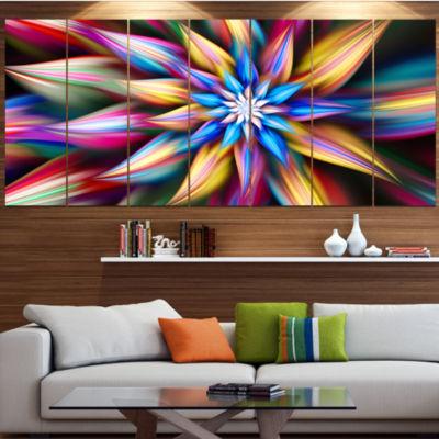 Designart Exotic Multi Color Flower Petals FloralCanvas Art Print - 5 Panels