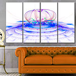 Designart Spectacular Blue 3D Surreal Art FloralCanvas Art Print - 4 Panels